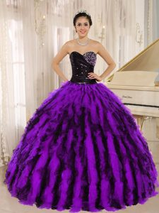 Ruched Sweetheart Black and Purple Organza Ruffled Quinceanera Dress with Beading