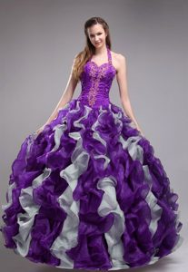 Halter Purple and White Organza Dresses for Quinceanera with Appliques and Ruffles