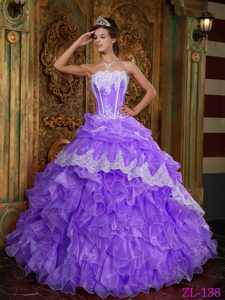 Strapless Floor-length Organza Purple Ball Gown Quince Dress with Ruffles