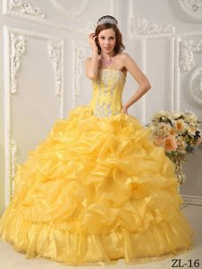 Ball Gown Organza Beaded Strapless 2013 Dress for Quinceanera in Yellow