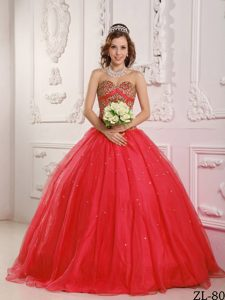 Princess Sweetheart Satin and Organza Beaded Quince Dress in Coral Red