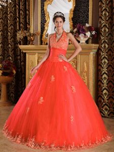 Floor-length Appliqued Tulle Rust Red Dress for Quinceanera with Halter