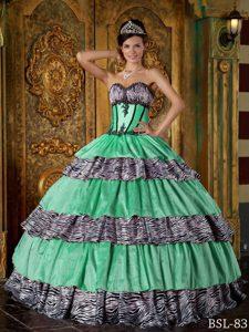 Sweetheart Zebra Luxurious Ball Gown Sweet Sixteen Dresses with Ruffles