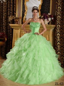 Strapless Satin Organza Embroidery Beaded Quince Dresses in Apple Green
