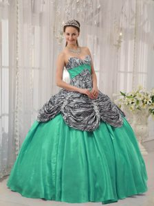 Turquoise Taffeta and Ruffled Dress for Quinceanera in Zebra or Leopard