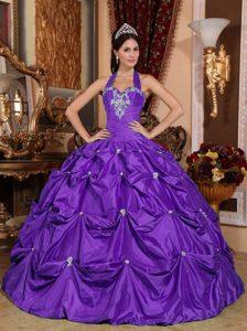 Eggplant Purple Taffeta Appliqued Sweet Sixteen Dresses with Halter Top