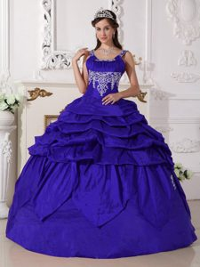 Blue Scoop Ball Gown Nice Quinceanera Dress with Beading in Taffeta