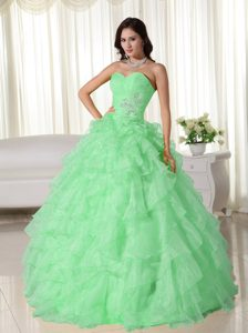 Discount Sweetheart Quinceanera Dresses with Appliques in Apple Green