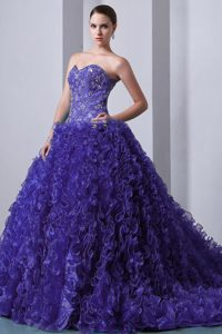 Organza Purple Quinceanera Gown with Sweetheart and Ruffles on Sale