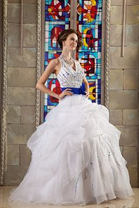 Perfect White Ball Gown Halter Sweet Sixteen Dress in Organza with Belt