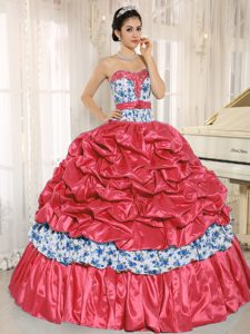 Low Price Beaded Taffeta Ball Gown Quinceanera Dresses with Printing