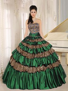 Quince Dress with Ruffled Layers and Appliques in Green and Leopard