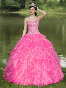 Dress for Quince with Sweetheart and Ruffles on Promotion in Hot Pink