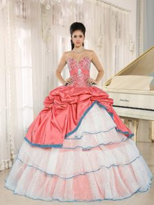 Red and White Sweet Sixteen Quinceanera Dress with Ruffles on Sale