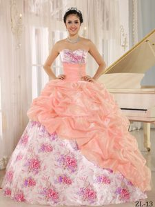 Elegant Sweetheart Beaded Quinceanera Gown Dresses with Printing