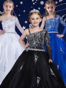 Black Sleeveless Organza Zipper Little Girls Pageant Dress Wholesale for Quinceanera and Wedding Party