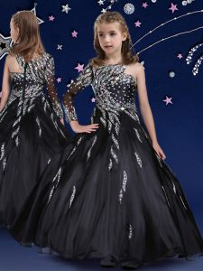 Glorious Black Zipper Little Girls Pageant Gowns Beading and Ruffles Sleeveless Floor Length