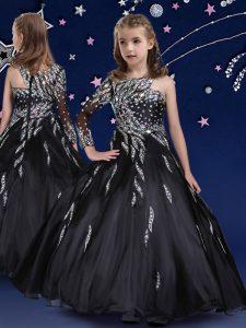 Glorious Black Zipper Little Girls Pageant Gowns Beading and Ruffles Sleeveless Floor Length