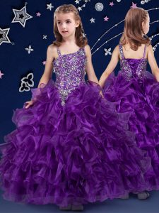 Organza Sleeveless Floor Length Little Girls Pageant Dress Wholesale and Beading and Ruffled Layers