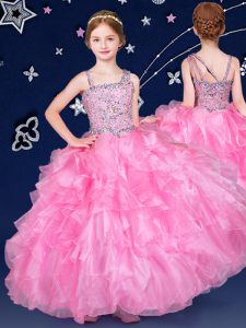 Charming Floor Length Zipper Little Girls Pageant Dress Rose Pink for Quinceanera and Wedding Party with Beading and Ruffles