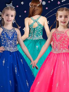 Beauteous Hot Pink and Royal Blue Pageant Gowns For Girls Quinceanera and Wedding Party with Beading Scoop Sleeveless Zipper
