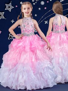 Halter Top Sleeveless Beading and Ruffles Zipper Little Girl Pageant Gowns