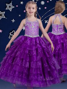 Halter Top Floor Length Zipper Kids Pageant Dress Eggplant Purple for Quinceanera and Wedding Party with Beading and Ruffled Layers
