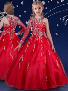 Red Ball Gowns Beading and Ruffles Child Pageant Dress Zipper Organza Sleeveless Floor Length