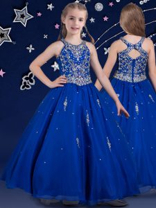 Scoop Floor Length Ball Gowns Sleeveless Royal Blue Little Girl Pageant Dress Zipper