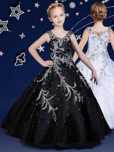 Black Scoop Neckline Beading Little Girl Pageant Dress Sleeveless Zipper