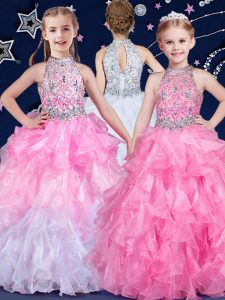 White and Pink And White Halter Top Neckline Beading and Ruffles Pageant Gowns For Girls Sleeveless Zipper