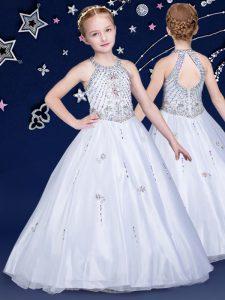 Elegant Halter Top Sleeveless Floor Length Beading Zipper Little Girls Pageant Dress Wholesale with White