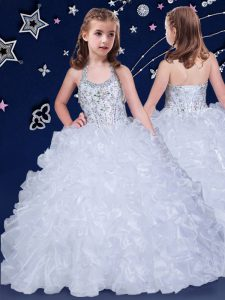 Halter Top Sleeveless Little Girl Pageant Gowns Floor Length Beading and Ruffles White Organza