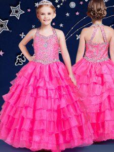 Ruffled Halter Top Sleeveless Zipper Little Girls Pageant Gowns Hot Pink Organza
