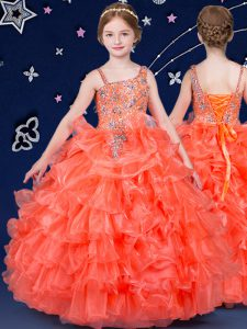 Attractive Organza Asymmetric Sleeveless Lace Up Beading and Ruffled Layers Little Girls Pageant Gowns in Orange