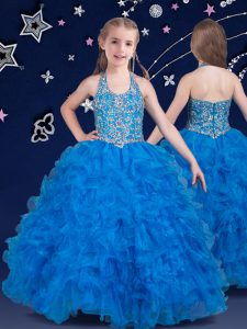 Customized Halter Top Floor Length Zipper Little Girl Pageant Gowns Baby Blue for Quinceanera and Wedding Party with Beading and Ruffles