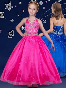 Halter Top Sleeveless Beading Lace Up Little Girl Pageant Dress