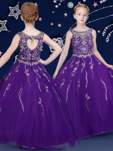 Purple Ball Gowns Scoop Sleeveless Organza Floor Length Lace Up Beading Little Girls Pageant Dress
