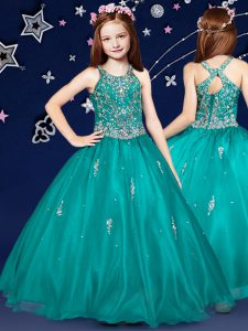 Fancy Teal Organza Zipper Scoop Sleeveless Floor Length Little Girl Pageant Gowns Beading