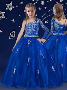 High Class Royal Blue Sleeveless Organza Zipper Little Girl Pageant Gowns for Quinceanera and Wedding Party