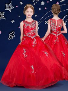 Red Scoop Zipper Beading and Appliques Little Girl Pageant Gowns Sleeveless