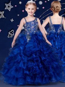 Royal Blue Lace Up Little Girl Pageant Gowns Beading and Ruffled Layers Sleeveless Floor Length