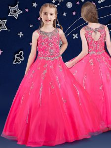 Hot Pink A-line Scoop Sleeveless Organza Floor Length Zipper Beading Little Girl Pageant Gowns