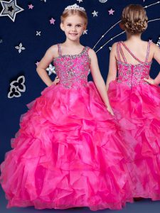 Floor Length Hot Pink Little Girl Pageant Gowns Organza Sleeveless Beading and Ruffles
