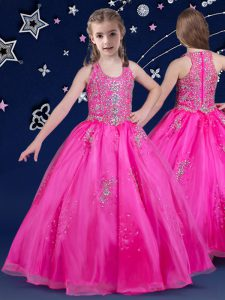 Scoop Fuchsia Sleeveless Beading Floor Length Pageant Gowns For Girls