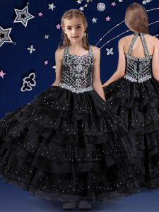 Modern Halter Top Sleeveless Beading and Ruffled Layers Zipper Child Pageant Dress