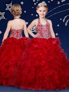 Halter Top Wine Red Sleeveless Beading and Ruffles Floor Length Pageant Gowns For Girls