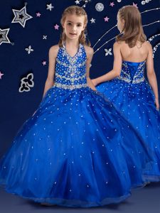 Royal Blue Ball Gowns Halter Top Sleeveless Organza Floor Length Lace Up Beading Child Pageant Dress