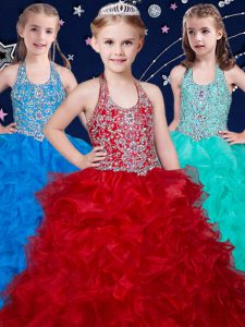 Stunning Halter Top Wine Red and Baby Blue and Turquoise Sleeveless Beading and Ruffles Floor Length Little Girls Pageant Dress Wholesale