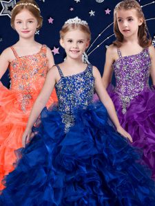 Top Selling Royal Blue and Purple and Orange Organza Lace Up Kids Formal Wear Sleeveless Beading and Ruffles